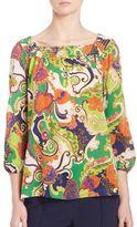 Trina Turk Paisley-Print Tie Sleeve Top