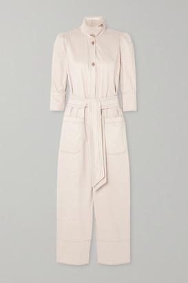 ANNA MASON Romy Belted Cotton Jumpsuit - Beige