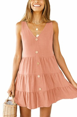 DanceWhale Womens Sleeveless V Neck Tunic Dress Casual Loose Swing Shift Dresses Pink XL