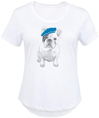 Instant Message Plus Women's Tee Shirts WHITE - White Frenchie in Beret Scoop Neck Tee - Plus