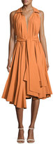 Natori Ruffled Stretch-Cotton Halter Dress, Bronze