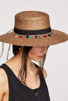 Tiki Ti Embroidered Straw Boater