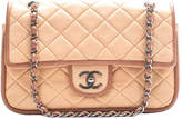 Chanel Beige Quilted Lambskin Leather Contrast Trim Medium Double Flap Bag