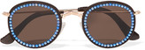 Freda Banana - Vic Embellished Faux Leather-trimmed Round-frame Gold-tone Sunglasses - Blue