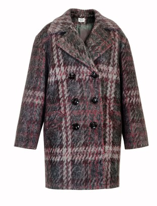 Diana Arno Sally Brushed Coat In Red Check