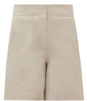 Raey Elasticated-back Leather Shorts - Womens - Light Grey