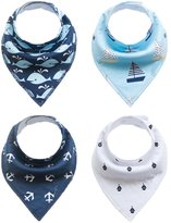 JT-Amigo 4pcs Set Baby Cotton Bandana Bibs with Adjustable Snaps