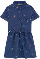 Ikks Embroidered chambray dress