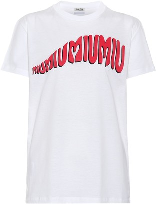 Miu Miu Printed cotton T-shirt