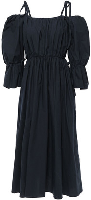 GOEN.J Cold-shoulder Bow-detailed Ruffled Cotton-poplin Midi Dress