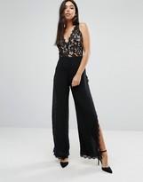 Boohoo Lace And Side Split Jumpsuit