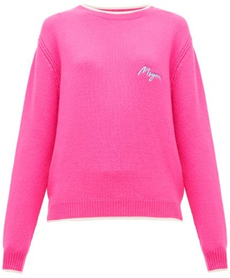 MSGM Logo-embroidered Wool And Cashmere-blend Sweater - Womens - Fuchsia