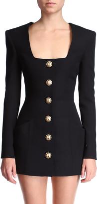 Balmain Button-Front Wool Mini Dress
