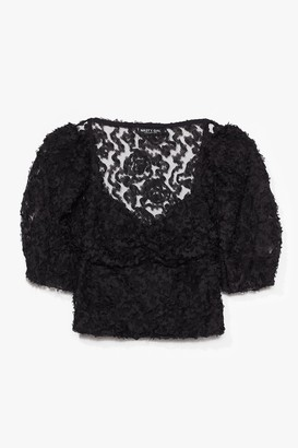Nasty Gal Womens Textured From My Ex's Floral Cropped Blouse - Black - S