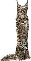Silk-chiffon leopard-print gown