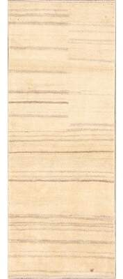 "Isabelline One-of-a-Kind Stuyvesant Zolanvari Gabbeh Shiraz Persian Modern Hand-Knotted 2'8"" x 6'8"" Wool Beige/Ivory Area Rug Isabelline"