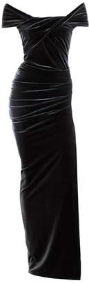La Femme Me&Thee Cherchez Grey Velvet Maxi Dress