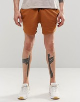 Asos Jersey Runner Shorts In Burnt Orange