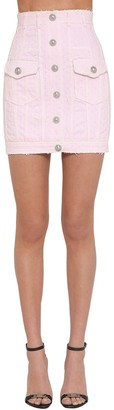 Balmain Laser Dot Cotton Denim Mini Skirt