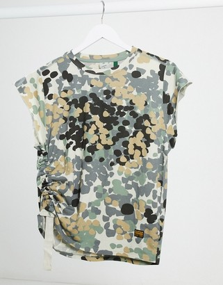 G Star G-Star ruched side top in khaki print
