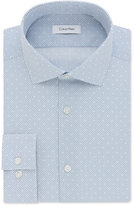 Calvin Klein Men's STEEL Slim Fit Non-Iron Performance Blue Print Dress Shirt