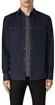 AllSaints Airlie Slim Denim Shirt, Dark Indigo Blue Melange