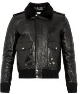 Saint Laurent Shearling-collar Leather Biker Jacket
