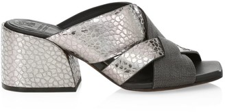 Brunello Cucinelli Monili-Trimmed Woven Croc-Embossed Metallic Leather Mules