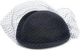 Federica Moretti veil embellished woven hat - women - Polyester/Straw/Polyamide - One Size
