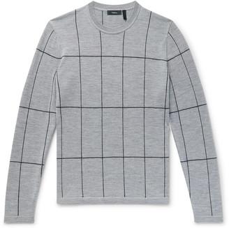 Theory Malio Checked Merino Wool Sweater