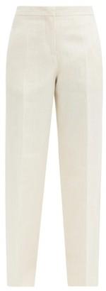 Jil Sander Flared High-rise Linen-blend Canvas Trousers - Cream