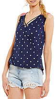 Moa Moa Star Printed Criss-Cross Surplice Americana Tank Top