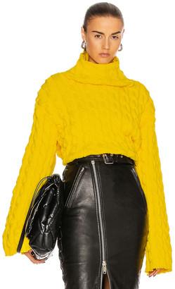 Balenciaga Long Sleeve High Neck Sweater in Yellow | FWRD