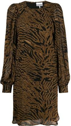 Ganni Tiger-Print Dress
