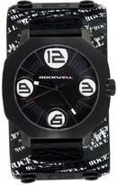 Rockwell Men's AS106 Assassin Black-Plated Stainless Steel Case and Black Printed Leather Band Watch