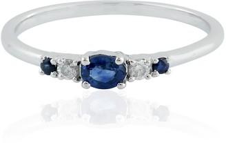 Artisan 18K White Gold Blue Sapphire Engagement Ring