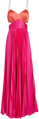 AMUR Elodie Colorblock Satin Gown