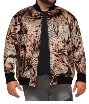 Mvp Collections By Mo Vaughn Productions Men's Big & Tall Mvp Collections Satin Animal/Feather Print Bomber Jacket