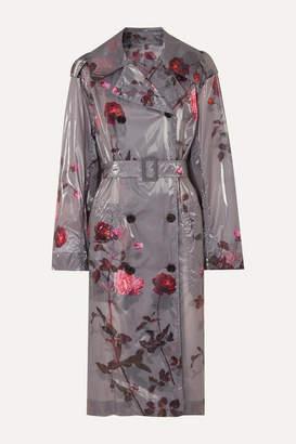 Dries Van Noten Floral-print Pu Trench Coat - Light gray