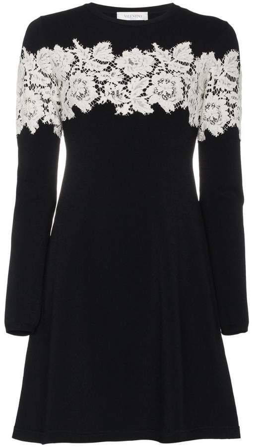 Valentino Lace-Embroidered Stretch Mini Dress