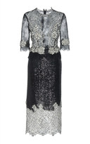 Costarellos Sequin-Embellished Chantilly Lace Sheath Dress