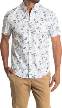 Original Penguin Short Sleeve Tropical Print Slim Fit Woven Shirt