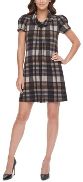 Jessica Howard Petite Plaid Cowlneck Dress