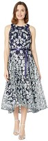 Tahari ASL Flare Skirt Party Dress (Navy Mint Floral) Women's Dress
