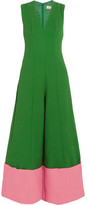 Merchant Archive - Two-tone Cloqué Jumpsuit - Green
