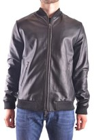 Trussardi Men's Black Leather Outerwear Jacket.