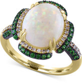 Effy Opal (2-1/2 ct. t.w.), Tsavorite (1/2 ct. t.w.) and Diamond (1/6 ct. t.w.) Ring in 14k Gold