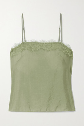 Vince Lace-trimmed Satin Camisole - Green