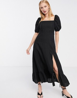 And other stories & linen square neck midi dress in black