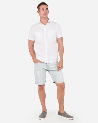 Express Slim Solid Short Sleeve Shirt